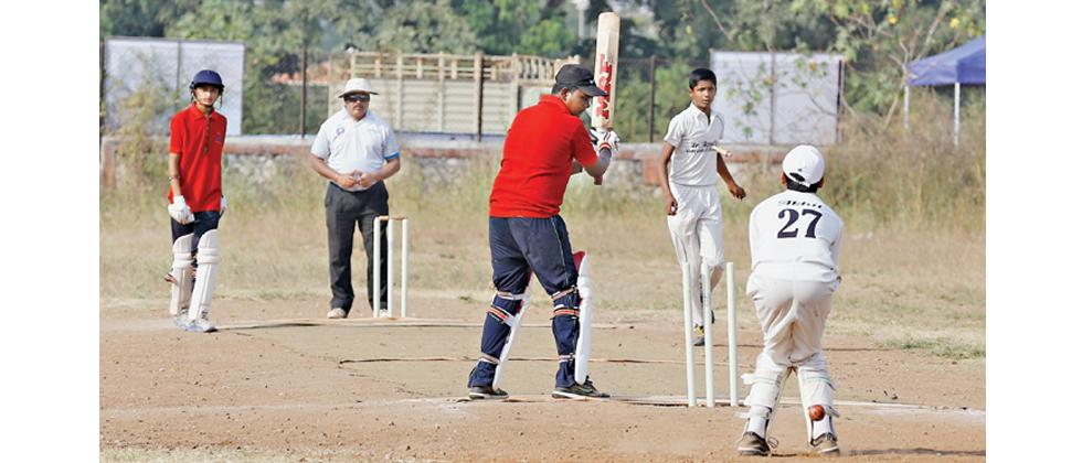 A match in progress between Angels Vidyankur School and Shree Atma Vallabh English School at SP College ground on Tuesday.
