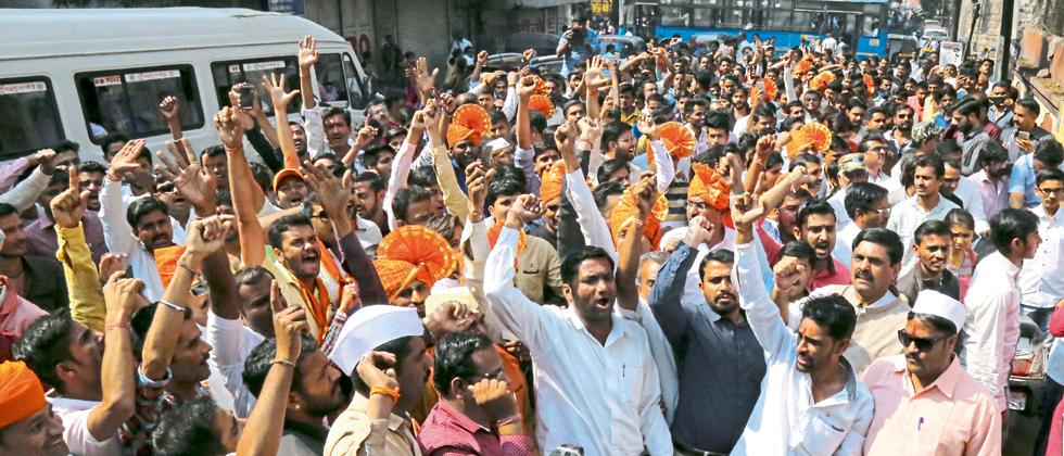 Members of Karni Sena took out a rally in the city on Monday to protest against the release of Padmaavat.