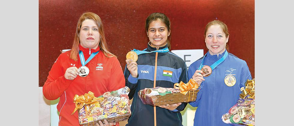 Manu Bhaker (centre) is flanked by Celine Goberville (left) and Alejandra Zavala Vazquez on podium of 10m Air Pistol Women event on Sunday.