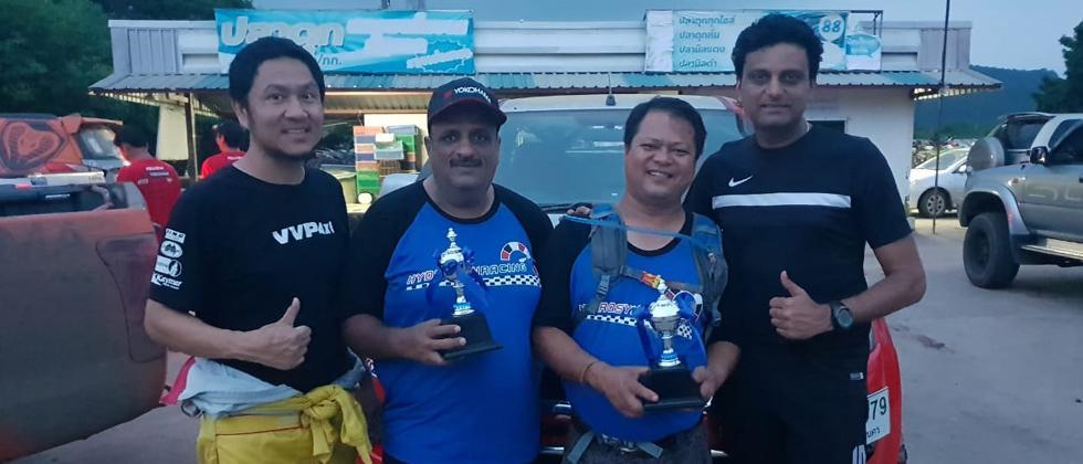 Well done: (From left) Thanyaphat Meemi (navigator), SanjayTakale, Chiborlang Wahlang and Ashwin Naik.
