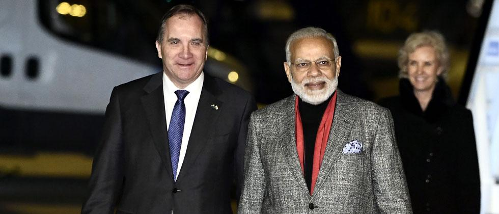 Prime Minister Narendra Modi is greeted by Swedish Prime Minister Stefan Lofven upon his arrival at Arlanda Airport in Stockholm, Sweden, on April 16, 2018. AFP Photo/TT News Agency and TT News Agency/Claudio Bresciani/Sweden OUT