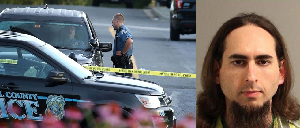 (L) Anne Arundel County police continue keep the road closed that leads to front the Capital Gazette where 5 people were shot and killed by a gunman on Thursday (R)  The photo of the suspect Jarrod Ramos obtained from the Anne Arundel Police.