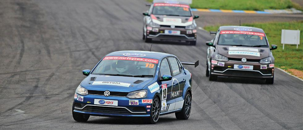 Dhruv Mohite (car No 19) in action at Kari Motor Speedway in Coimbatore on Saturday