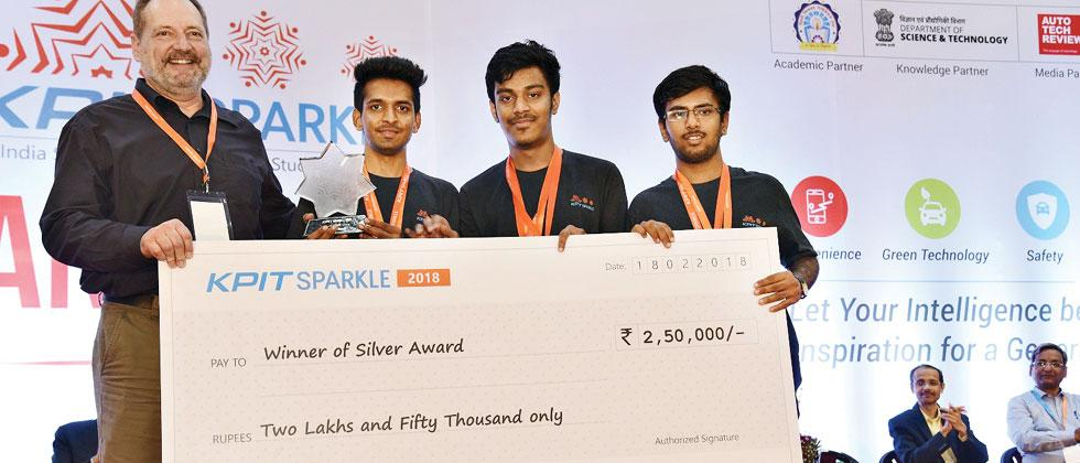 Team Nanoknocks from Pune Vidyarthi Griha's College of Engineering receives the silver award