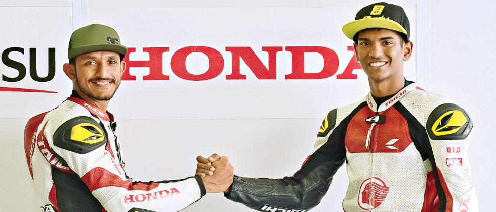 Idemitsu Honda Racing riders Anish D Shetty (left) and Rajiv Sethu