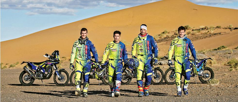(From left) Sherco TVS Factory Rally team's riders Lorenzo Santolino, Duplessis Diego Martin, Joan Pedrero and Cominotto Vanni