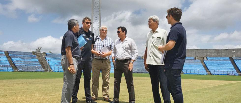 A file picture of Pandurang Salgaonkar at the MCA International Stadium with the technical committee from the New Zealand ahead of the bilateral series between the two teams in October 2017.