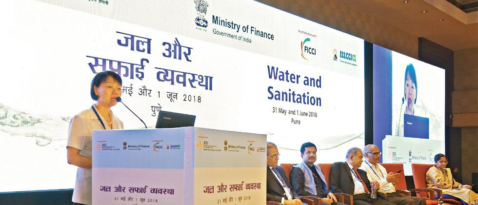Jingmin Huang, Principal Urban Development Specialist, Urban Development and Water Division, ADB, speaking at a two-day seminar on water and sanitation in Pune
