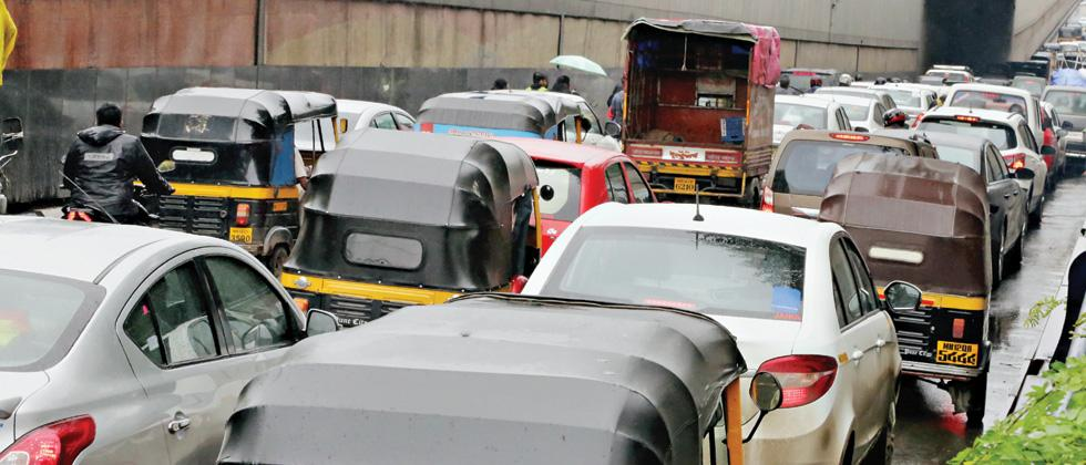 Raksha Bandhan and rains led to slow moving traffic in different parts of the city.