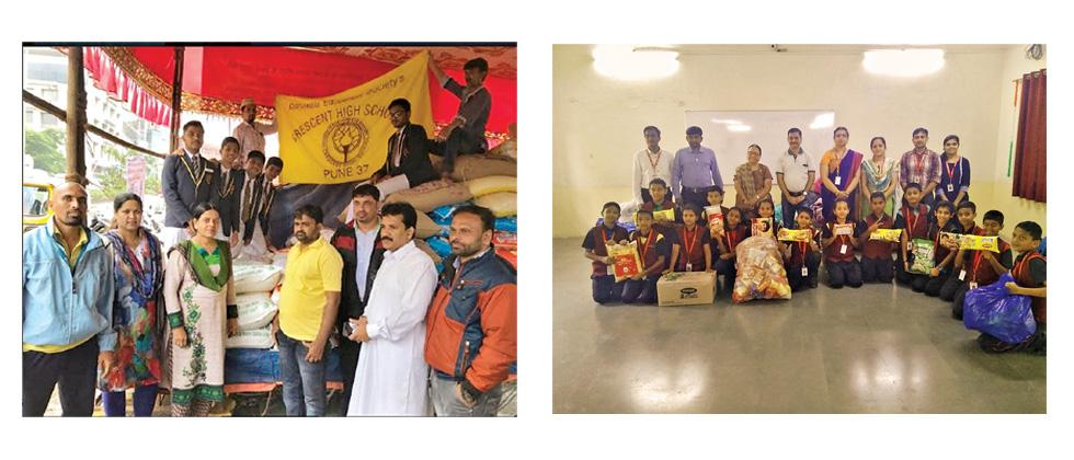 (L) Crescent High School and Junior College donated 500 kg rice and 450 kg sugar through Naaz Foundation based in Kondhwa. (R) Staff and students of CM International School, Balewadi donated  biscuits, blankets, food grains, clothes, toiletries etc.