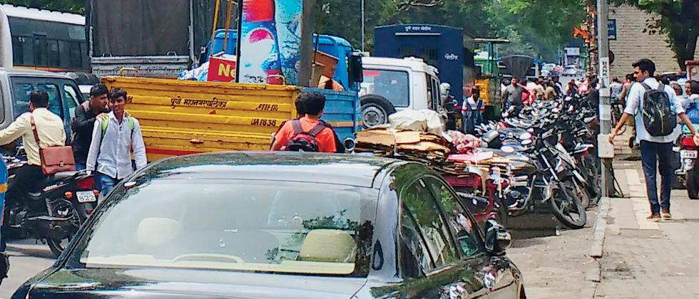 Commuters and motorists had to suffer a lot due traffic jam on busy FC Road following anti-encroachment drive organised by the PMC on Monday