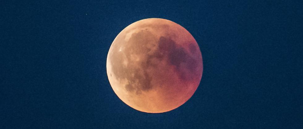"View of the ""blood moon"" eclipse near Roskilde in Denmark, on Friday."