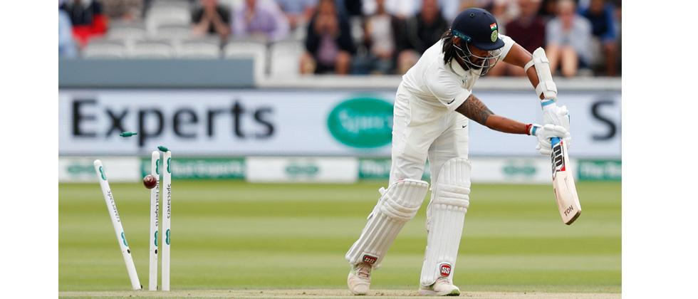 India's Murali Vijay is bowled out by England's James Anderson for 0 runs on the second day of the second Test cricket match between England and India at Lord's Cricket Ground in London on August 10, 2018.