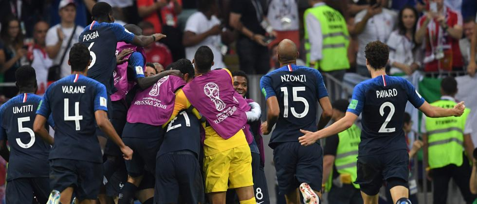France celebrate after winning 4-2 during the final match between France and Croatia at the 2018 soccer World Cup in the Luzhniki Stadium in Moscow, Russia, on Sunday.