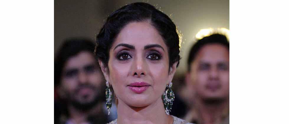 This file photo taken on January 13, 2018 shows Indian Bollywood actress Sridevi Kapoor during the 'Umang Mumbai Police Show 2018' in Mumbai.