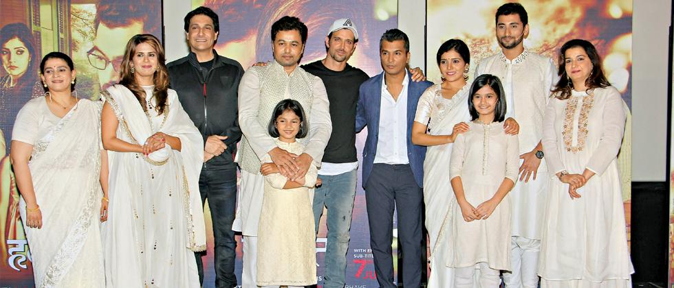 Vikram Phadnis along with Hrithik Roshan, Shiamak Davar and the star cast of Hrudayantar at the trailer launch