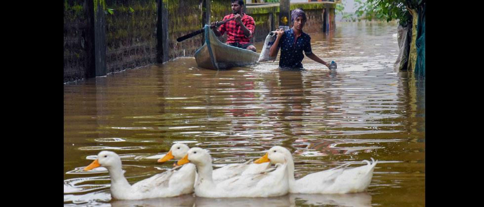 A view of a flooded locality after heavy rains, at Elloor in Kochi on Friday, Aug 10, 2018. PTI Photo