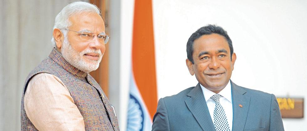 A file photo of  Prime Minister Narendra Modi with President of Maldives Abdulla Yameen Abdul Gayoom during a meeting.