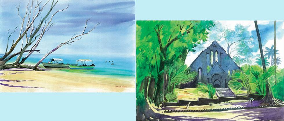 Artist Bhaskar Sagar, who is displaying his watercolour series of Andaman islands in Pune