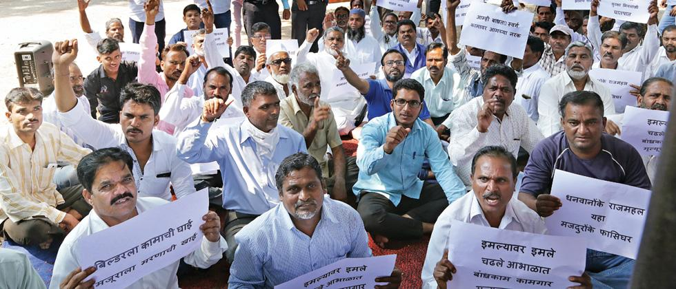 Construction workers demand safety
