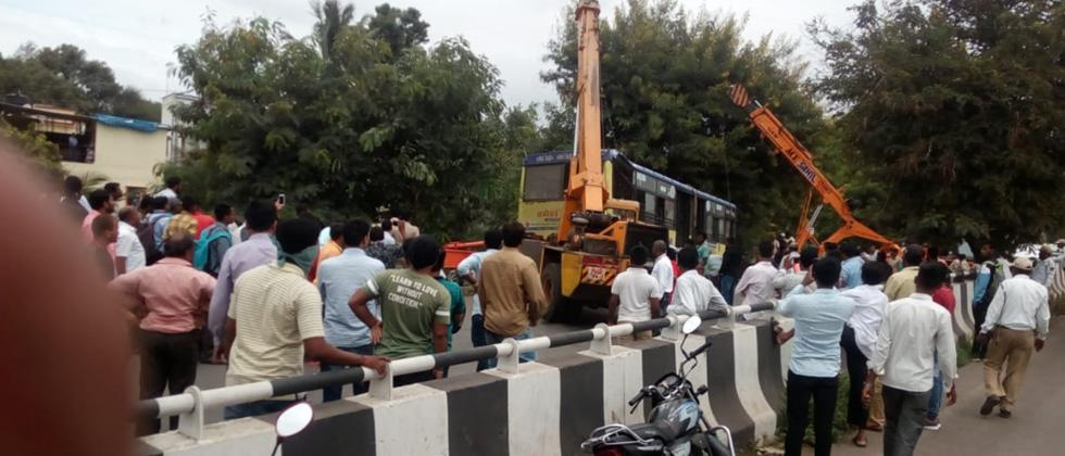 12 persons injured after PMPML bus falls off service road