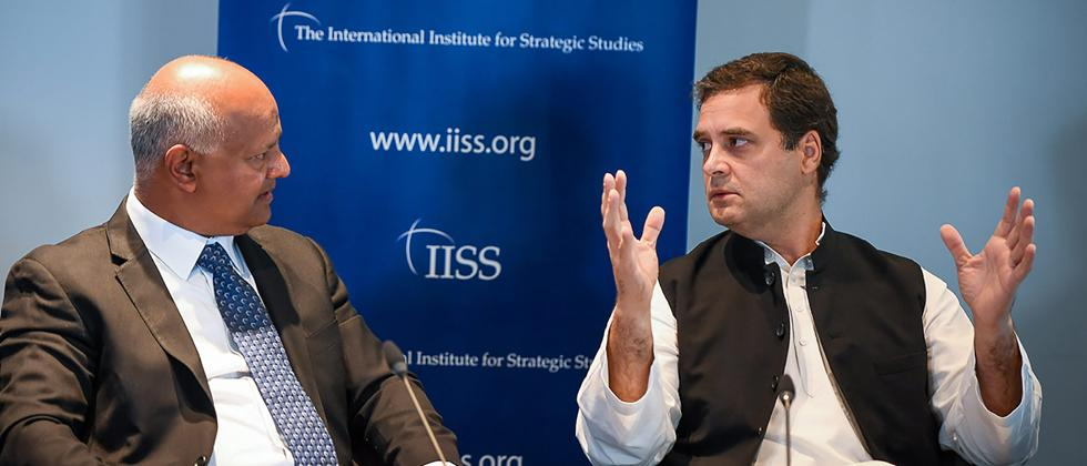 Rahul Gandhi in a panel at International Institute for Strategic Studies (IISS), in London