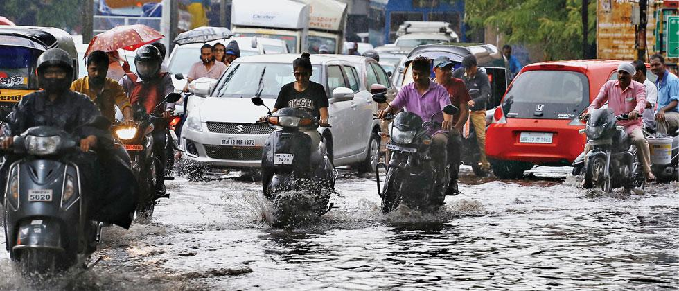 A waterlogged road in Pune on Thursday