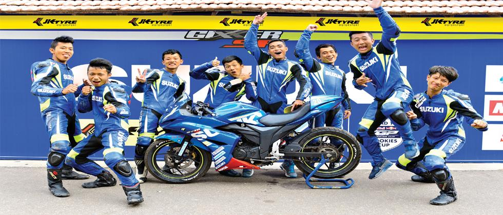 Bikers from Aizawl strike a pose after dominating podium at  JK Tyre Suzuki Gixxer National Racing Championship.