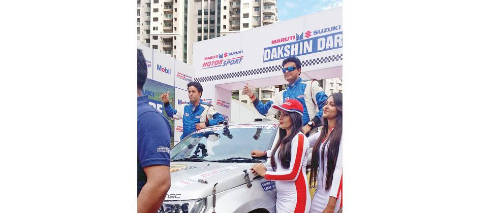 Suresh Rana (left) and his co-driver Ashen Naik at the ceremonial flag-off on their Maruti Suzuki Grand Vitara at Orion Mall, Bengaluru on Sunday.
