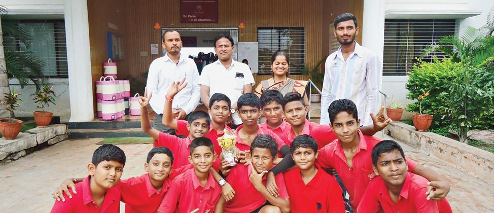 Students of Vidya Pratishthan's English Medium School, BILT, Bhigwan who won the under-14 Taluka level Inter-School Volleyball tournament.