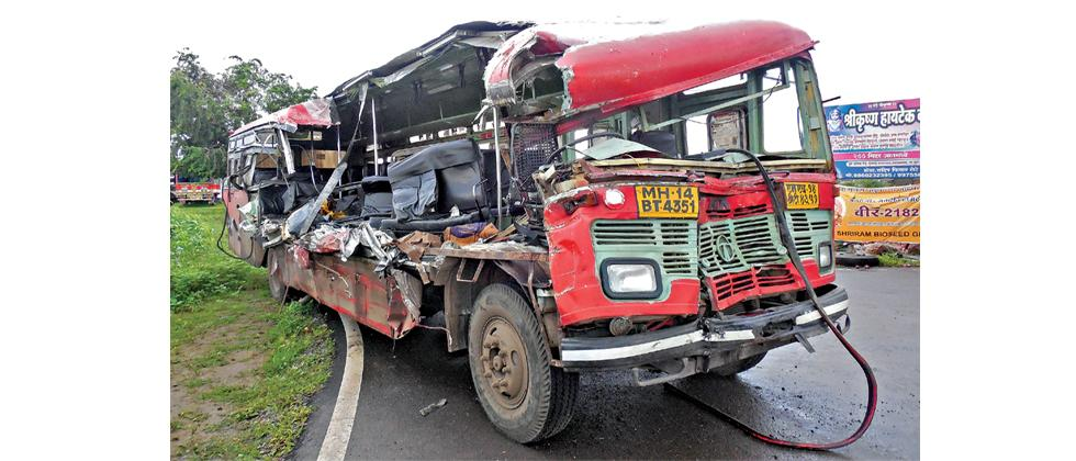 The ST bus was completely damaged after it collided with a parked tempo in Narayangaon killing 9 people and injuring 17 others on Monday.