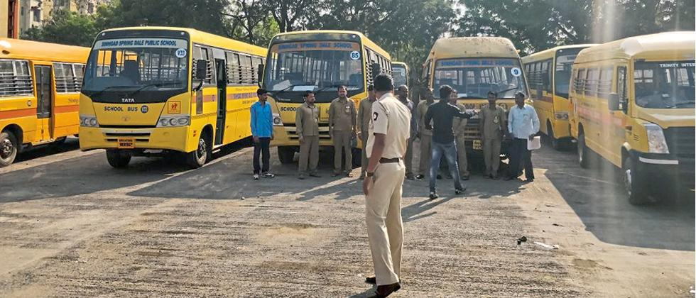 School buses along with drivers at RTO.