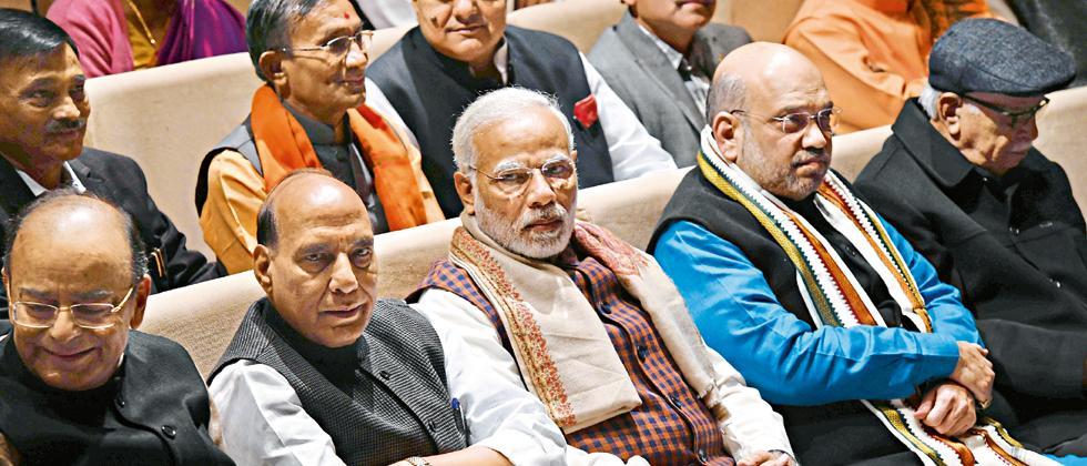 (L-R) Finance Minister Arun Jaitley, Home Minister Rajnath SIngh, PM Narendra Modi, BJP President Amit Shah and senior BJP leader LK Advani attend BJP's parliamentary meeting in New Delhi on Wednesday.