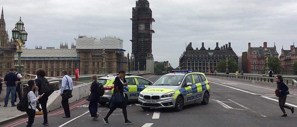 Car crashes outside British Parliament, pedestrians injured