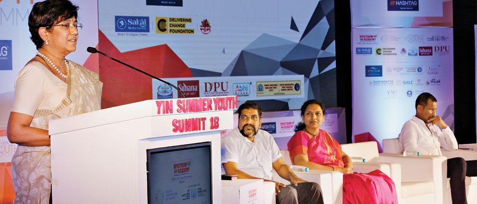 MP Vandana Chavan speaks at the YIN Summer Youth Summit 2018 at Balgandharva Auditorium on Wednesday