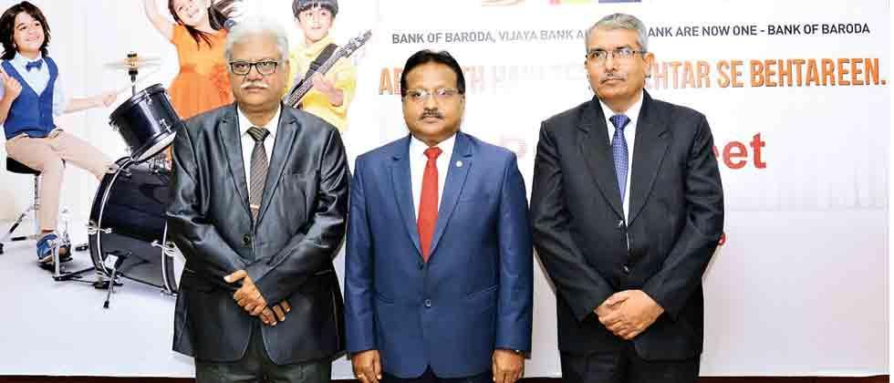 Triple power: (L-R) J Ramagopal, Deputy General Manager, Bank of Baroda, Rajesh Kumar, General Manager, Bank of Baroda, Zonal Office, Pune;  Mahendra Singh Roheria, Deputy  General Manager, Bank of Baroda, Pune to announce the amalgamation of Dena Bank an