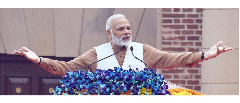 Prime Minister Narendra Modi addresses the gathering on the Rashtriya Ekta Diwas, at Major Dhyan Chand National Stadium, in New Delhi on October 31, 2017.