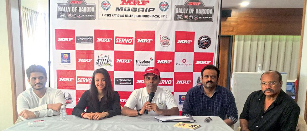 Amit Waghchoure (centre) announces the start of the 2018 two-wheel rally season in Baroda on Friday. Also seen (from left) Ershad Bapu, racing rider Mira Erda, Abid Bapu of Team Baroda Racing and Kirit Erda of Erda Racing.