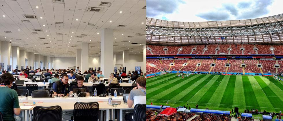 The Media Centre and the Luzhniki Stadium