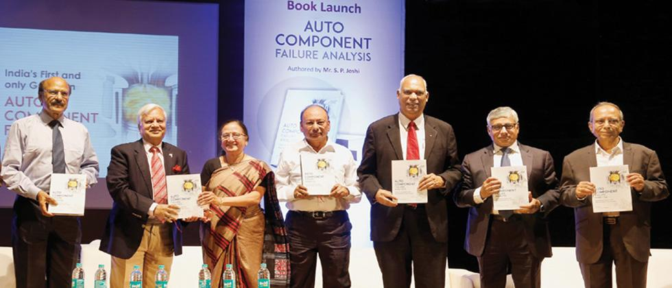 Former VP of Tata Motors SP Joshi (extreme right) released his book 'Auto Component And Failure Analysis' at Jawaharlal Nehru Sanskrutik Bhavan on Tuesday. (L to R) Pratap Pawar , Managing Director of Sakal Media Grou and other dignitaries.
