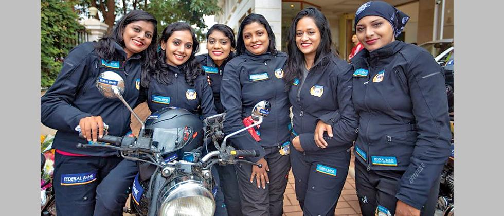 Women from the Federal Bank pose for a picture during their ongoing national expedition which will conclude in New Delhi.
