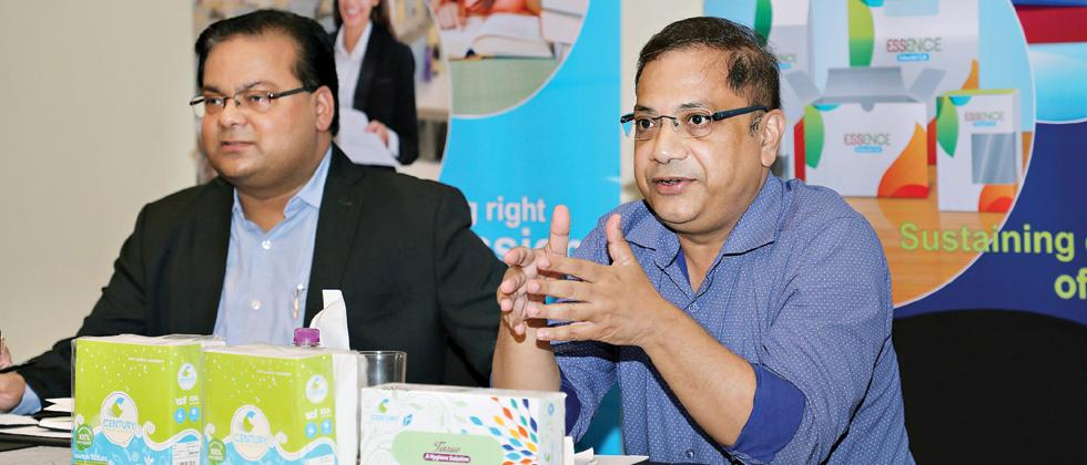 Alok Prakash (left), Chief Sales Officer, Century Paper and Pulp, and Debojit Sengupta,(right), Head of Sales and Marketing, Century Paper and Pulp, addressing a press conference.