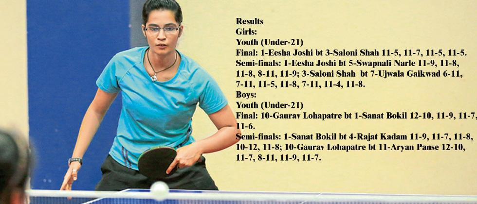 Eesha Joshi in action during the Players Cup Table Tennis tournament at Deccan Gymkhana.