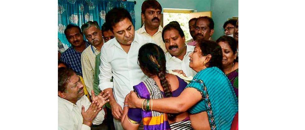 Telangana's IT minister KT Rama Rao visits the family of Sharat Koppu, a student who was shot dead in a restaurant in Kansas City in the US on Friday, in Hyderabad on Sunday.