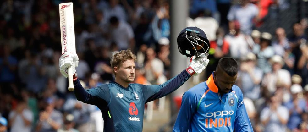 England's Joe Root celebrates his century nest to India's Hardik Pandya during the one day cricket match between England and India at Lord's cricket ground in London on Saturday.