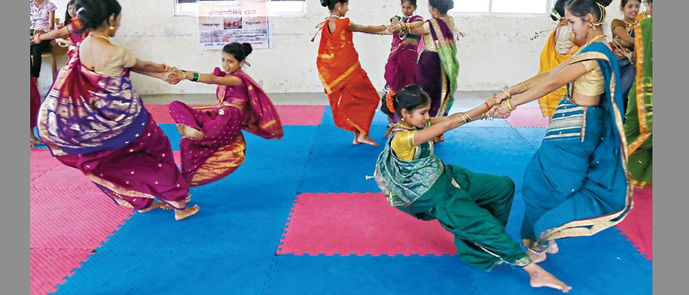 Girls practising traditional games of 'Mangalgauri' at Niramay NGO centre at Kelewadi in the city.