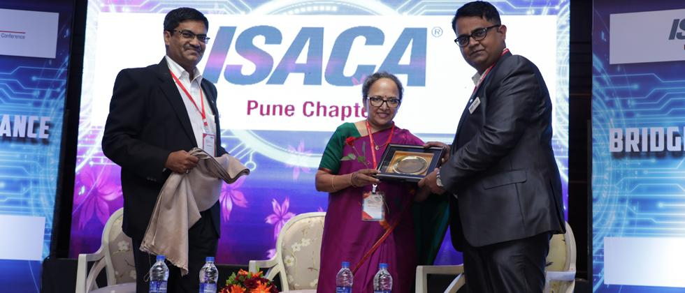 From left - Secretary ISACA Pune chapter Vijay Bhalerao, DSCI CEO Rama Vedashree and Chandan Chaurasyia, president of ISACA Pune chapter, at the conference on Saturday at Hotel Sheraton.