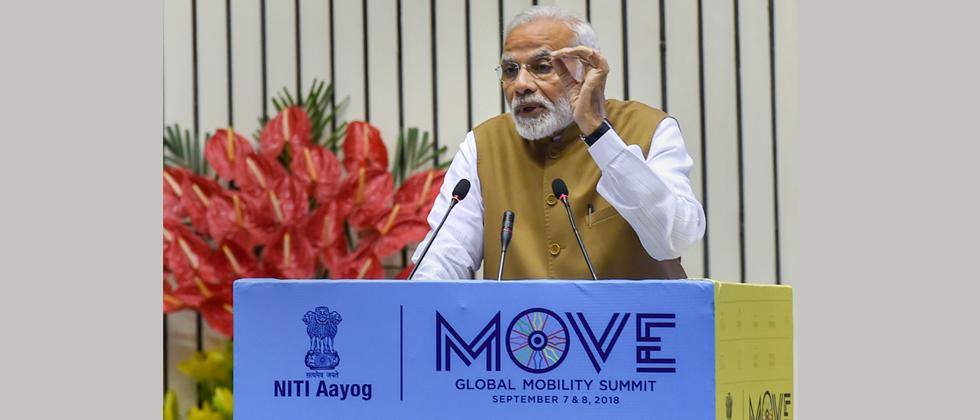 Prime Minister Narendra Modi addresses the 'Move Global Mobility Summit', organized by NITI Aayog, in New Delhi on Friday.