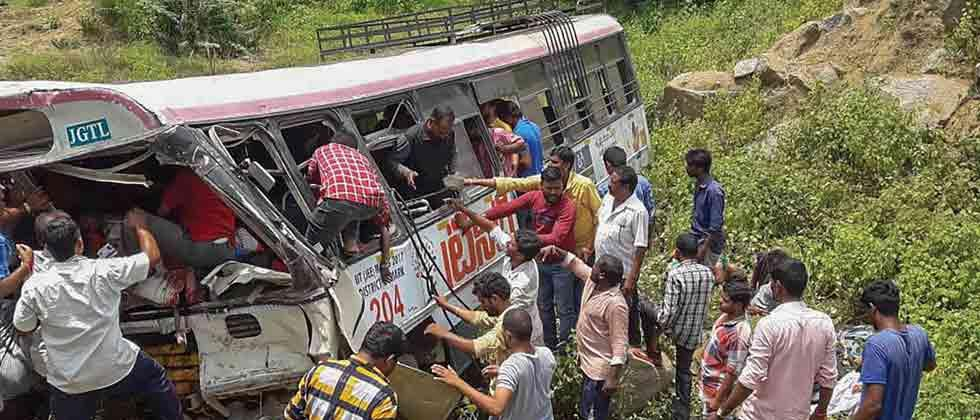 52 killed as bus falls into gorge in Telangana