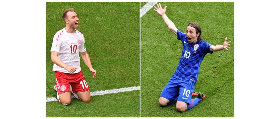 Combination of images shows Denmark's forward Christian Eriksen (L) in Samara on June 21, 2018 and Croatia's midfielder Luka Modric at Parc des Princes in Paris on June 12, 2016. Emmanuel Dunand and Philippe Lopez/AFP